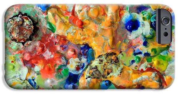 Red Abstract Sculptures iPhone Cases - Man  Kicking  An  Encaustic  Ball iPhone Case by Carl Deaville