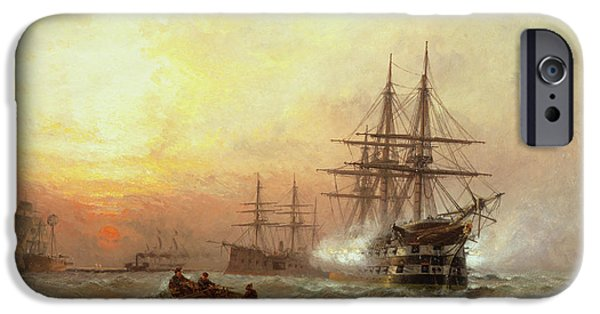 Shipping iPhone Cases - Man-o-War firing a salute at sunset iPhone Case by Claude T Stanfield Moore