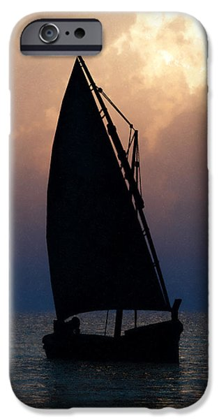 Ocean Sunset Jewelry iPhone Cases - Man on Sailboat... iPhone Case by Tim Fillingim