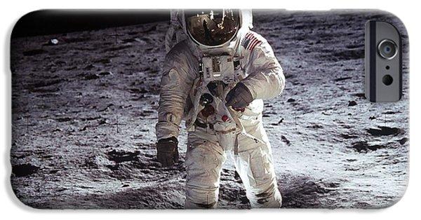 Moon Walk iPhone Cases - Man on the Moon 11 iPhone Case by Jon Neidert