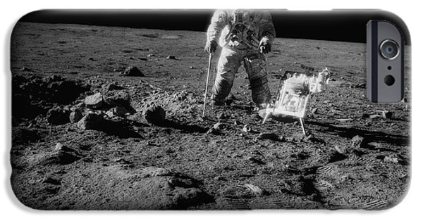 Moon Walk iPhone Cases - Man on the Moon iPhone Case by Jon Neidert
