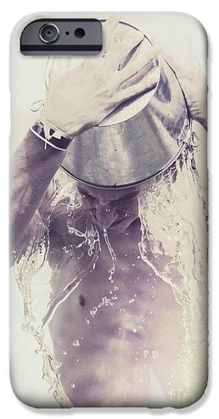 Enliven iPhone Cases - Man pouring cold water from wine cooler over body iPhone Case by Ryan Jorgensen