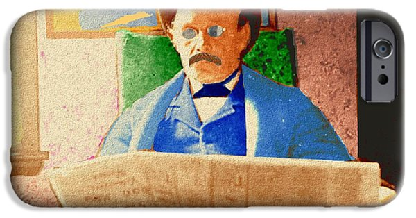 Interior Scene iPhone Cases - Man Reading Newspaper iPhone Case by Cliff Wilson
