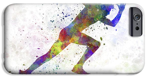 Cut-outs Paintings iPhone Cases - Man running sprinting jogging iPhone Case by Pablo Romero