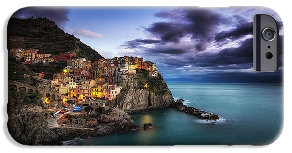 Town iPhone Cases - Manarola Blues iPhone Case by Insung Choi