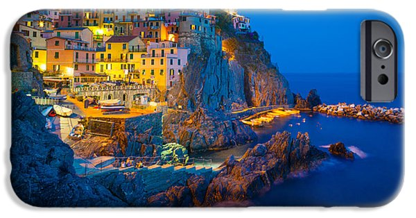 Night Lamp Photographs iPhone Cases - Manarola by night iPhone Case by Inge Johnsson