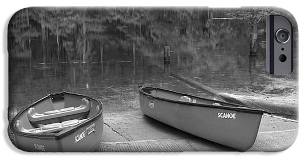 Manatee iPhone Cases - Manatee Springs Black And White Boat Launch iPhone Case by Adam Jewell