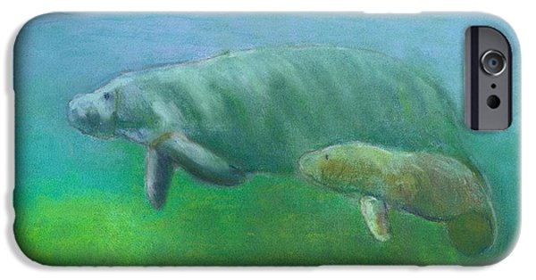 Aquatic Pastels iPhone Cases - Manatees iPhone Case by Len Vincenti