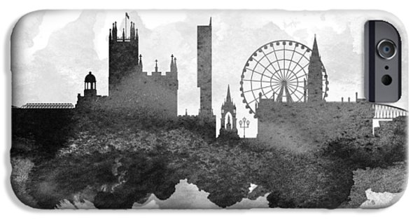 Down Town iPhone Cases - Manchester Cityscape 11 iPhone Case by Aged Pixel