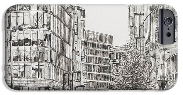 Pen And Ink Drawing Drawings iPhone Cases - Manchester  Deansgate iPhone Case by Vincent Alexander Booth