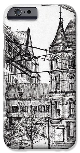 Pen And Ink Drawing Drawings iPhone Cases - Manchester town hall from City Art Gallery iPhone Case by Vincent Alexander Booth