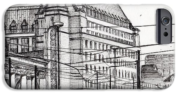 Pen And Ink iPhone Cases - Manchester Town Hall iPhone Case by Vincent Alexander Booth