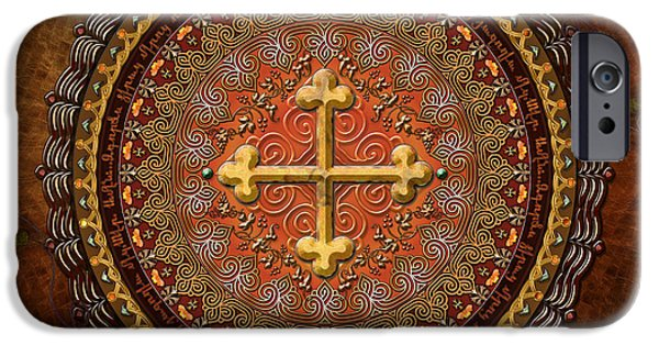 Bedros Mixed Media iPhone Cases - Mandala Armenian Cross iPhone Case by Bedros Awak