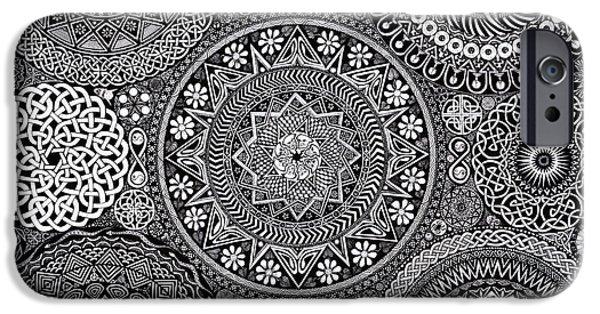 Detail Drawings iPhone Cases - Mandala Bouquet iPhone Case by Matthew Ridgway