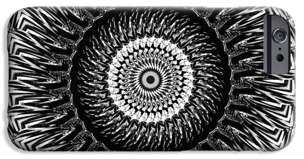 Abstract Digital Drawings iPhone Cases - Mandala Circle of life iPhone Case by Justyna JBJart