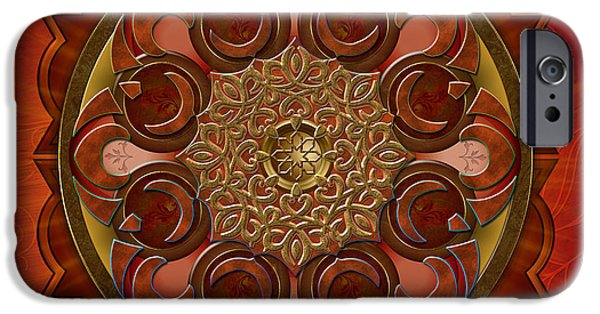 Bedros Mixed Media iPhone Cases - Mandala Flames iPhone Case by Bedros Awak
