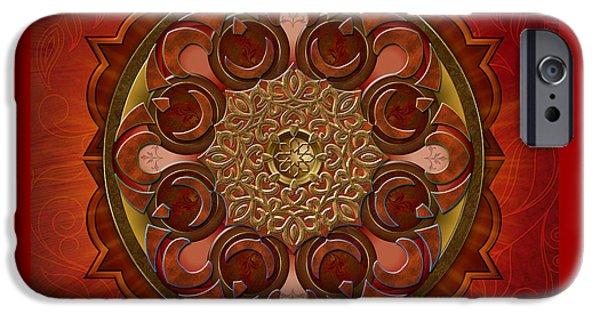 Awak Mixed Media iPhone Cases - Mandala Flames iPhone Case by Bedros Awak