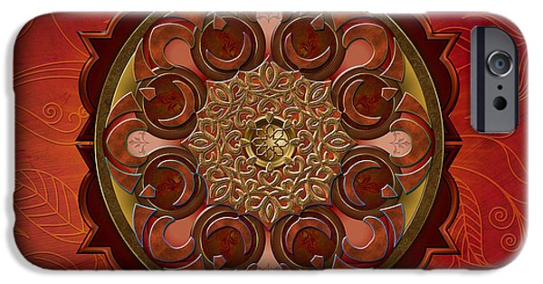 Bedros Mixed Media iPhone Cases - Mandala Flames sp iPhone Case by Bedros Awak