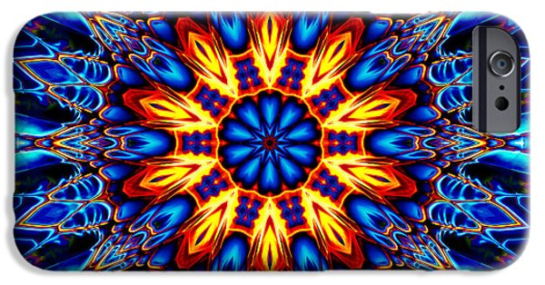 Religious Tapestries - Textiles iPhone Cases - Mandala Flower 1 iPhone Case by Marcus Mattern
