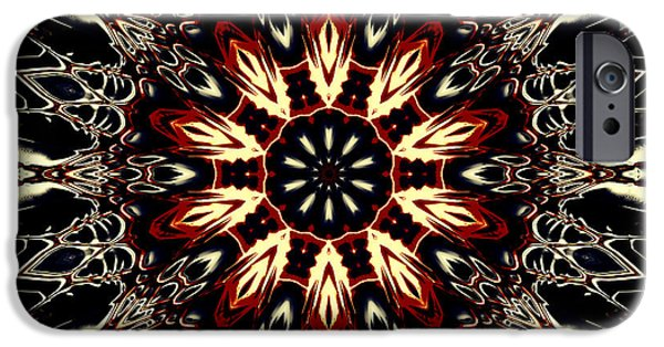 Floral Digital Digital Tapestries - Textiles iPhone Cases - Mandala Flower 3 iPhone Case by Marcus Mattern