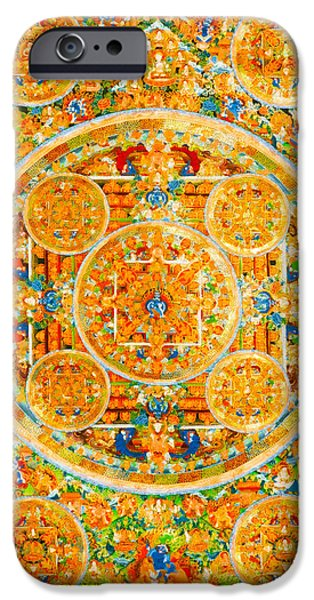 Tibetan Buddhism iPhone Cases - Mandala Of Heruka In Yab Yum And Buddhas 1 iPhone Case by Lanjee Chee