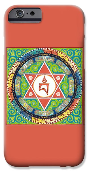 Tibetan Buddhism iPhone Cases - Mandala of vajrayogini iPhone Case by Berty Sieverding