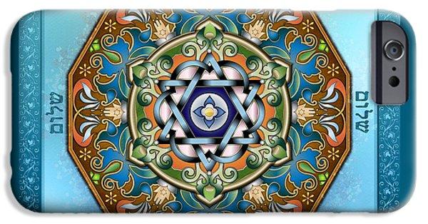 Mandalas iPhone Cases - Mandala Shalom iPhone Case by Bedros Awak