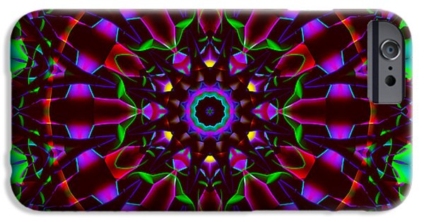 Floral Digital Digital Tapestries - Textiles iPhone Cases - Mandala - Stained Glass 1 iPhone Case by Marcus Mattern