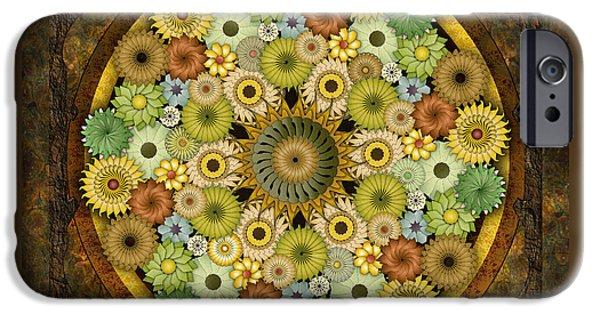 Awak Mixed Media iPhone Cases - Mandala Stone Flowers iPhone Case by Bedros Awak