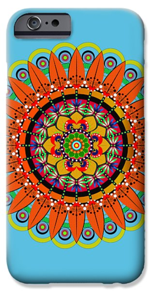 Tibetan Buddhism iPhone Cases - Mandala Sunflower iPhone Case by Isabel Salvador