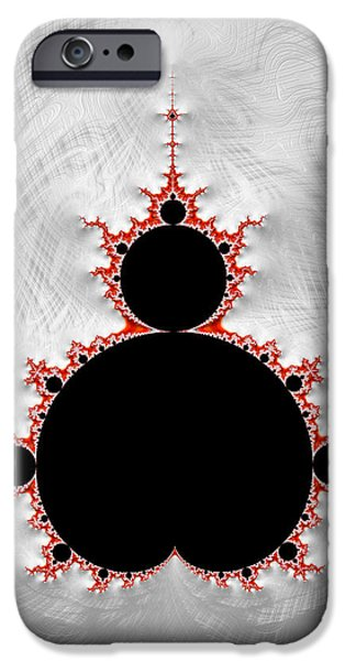 Contemporary Abstract iPhone Cases - Mandelbrot set black red silver fractal art iPhone Case by Matthias Hauser