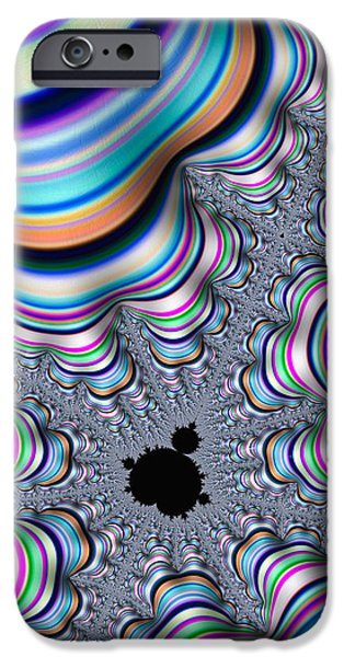 Contemporary Abstract iPhone Cases - Mandelbrot set in colorful fractal valley iPhone Case by Matthias Hauser