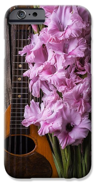 Gladioli iPhone Cases - Mandolin And Glads iPhone Case by Garry Gay