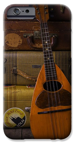 Hand-made iPhone Cases - Mandolin And Suitcases iPhone Case by Garry Gay