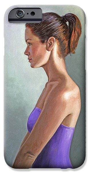 Figures Paintings iPhone Cases - Mandy-Profile iPhone Case by Paul Krapf