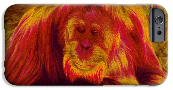 Orangutan Digital Art iPhone Cases - Mangotan iPhone Case by Caito Junqueira