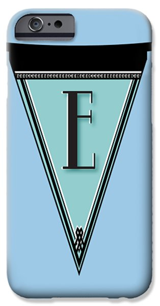 Party Invite iPhone Cases - Manhattan 1920s Deco Blues Banner Monogram letter initial E iPhone Case by Cecely Bloom