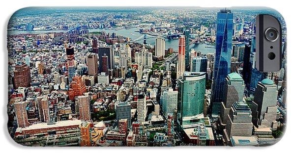 Bay Bridge iPhone Cases - Manhattan Aerial iPhone Case by Unsplash