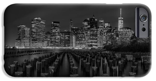 River iPhone Cases - Manhattan and the Brooklyn Pileons in Black and White iPhone Case by Andres Leon