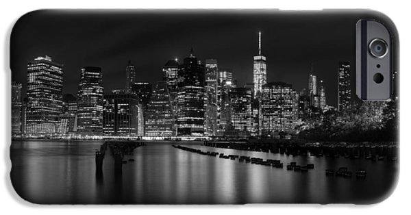 Freedom iPhone Cases - Manhattan at night in Black and White iPhone Case by Andres Leon