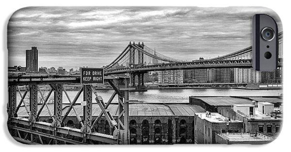 Stillness iPhone Cases - Manhattan Bridge iPhone Case by John Farnan
