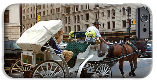 Horse And Buggy iPhone Cases - Manhattan Buggy Ride iPhone Case by Madeline Ellis