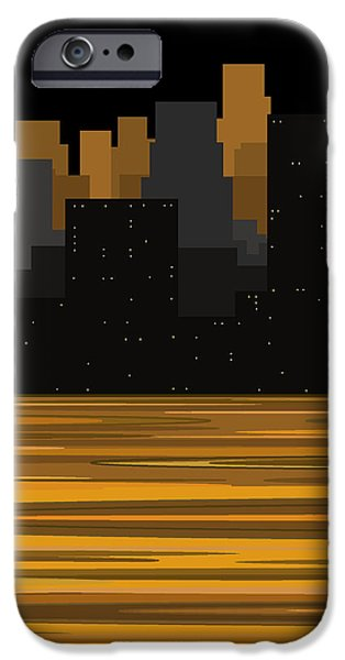 City Scape Digital Art iPhone Cases - Manhattan Moonlight iPhone Case by Val Arie
