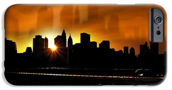 Manhattan Mixed Media iPhone Cases - Manhattan Silhouette iPhone Case by Svetlana Sewell