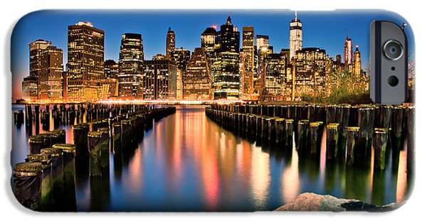 North American iPhone Cases - Manhattan Skyline At Dusk iPhone Case by Az Jackson