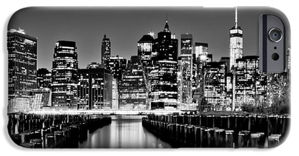 North American iPhone Cases - Manhattan Skyline BW iPhone Case by Az Jackson