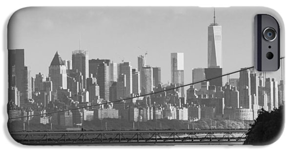 Hudson River iPhone Cases - Manhattan view iPhone Case by Tom Bushey