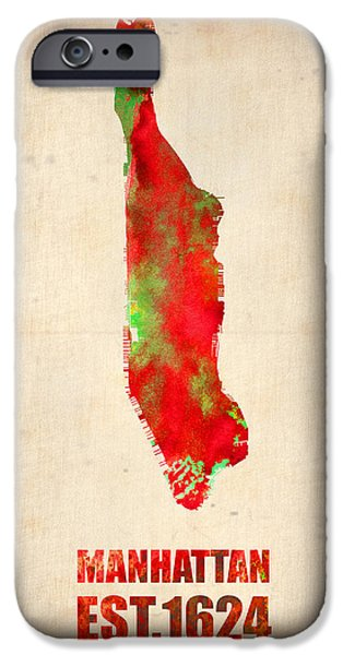 Manhattan iPhone Cases - Manhattan Watercolor Map iPhone Case by Naxart Studio