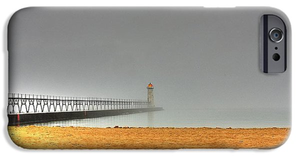 Chicago iPhone Cases - Manistee Light and Fog iPhone Case by Randy Pollard