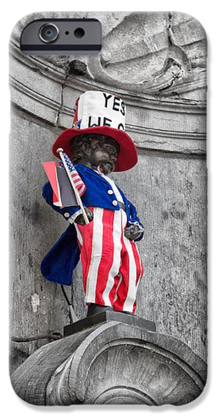 American Independance iPhone Cases - Manneken Pis on the Fourth of July iPhone Case by Nomad Art And  Design